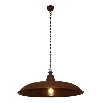 Pendente Udaipur Redondo Metal Envelhecido 25x60cm Bella Iluminação 1 E27 Bivolt PEI0034MA Cozinhas e Balcões