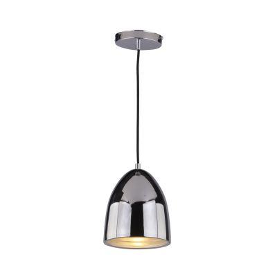 Pendente Mezza Vertical Oval Aço Metal Cromado Ø16cm Bella Iluminação 1 E27 Bivolt SE616C Entradas e Cozinhas
