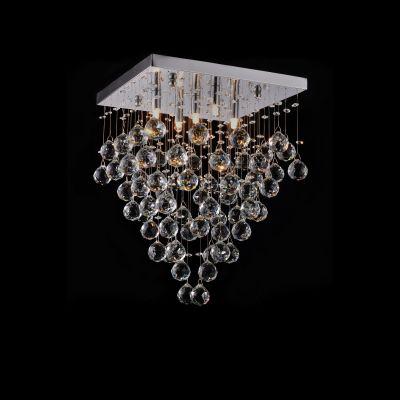 Plafon Sobrepor Spring Metal Cromado Cristal 46,5x35cm Bella Iluminação 5 G9 Halopin Bivolt SS005 Salas e Entradas