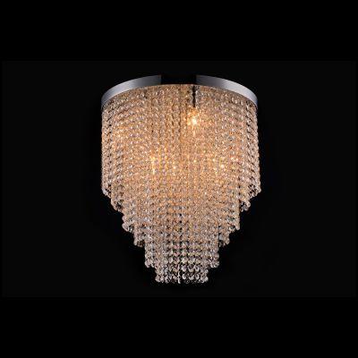Plafon Redondo Niagara Cristal Metal Cromado 37x30cm Bella Iluminação 5 G9 Halopin Bivolt SS017 Salas e Entradas