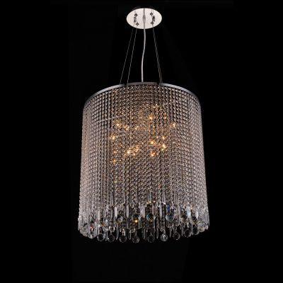 Pendente Redondo Zola Cristal Metal Cromado 63,5x65cm Bella Iluminação 12 E14 Bivolt SS018 Entradas e Salas