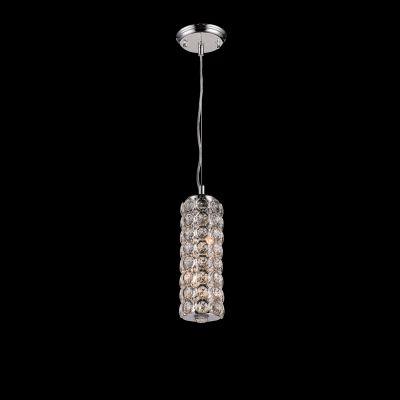 Pendente Tubular Lily Cristal Metal Cromado 30,5x10cm Bella Iluminação 2 G9 Halopin Bivolt SS020 Salas e Quartos