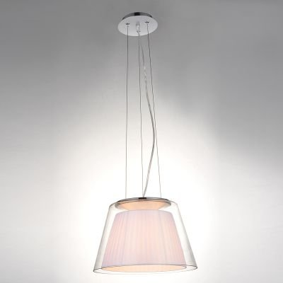 Pendente Conico Voluta Tecido Branco Metal Vidro 50x32,5cm Bella Iluminação 1 E27 Bivolt SU002W Quartos e Salas