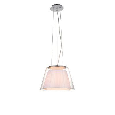 Pendente Conico Trace Vidro Tecido Branco Metal 29x44cm Bella Iluminação 1 E27 Bivolt SU003W Salas e Quartos