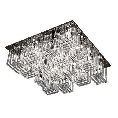 Plafon Metal Cromado Sobrepor Quadrado Vidro Ø70cm Bella Iluminação 32 G4 Bi-pino Bivolt TQ1609 Entradas e Salas