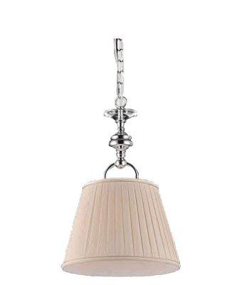 Pendente Madison Conico Tecido Creme Metal Cromado 47x38cm Bella Iluminação 1 E27 Bivolt UD022 Quartos e Salas
