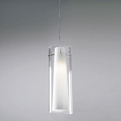 Pendente Due Tubular Vertical Vidro Metal 34x12cm Bella Iluminação 1 E27 40W Bivolt VT1047 Cozinhas e Balcões