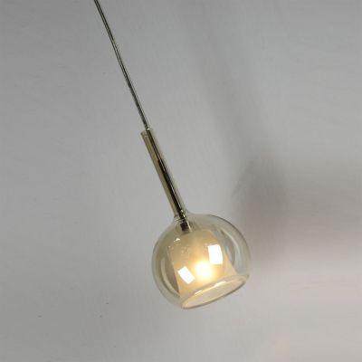 Pendente Glassy Metal Cromado Vidro Âmbar 25x17cm Bella Iluminação 1 G9 Halopin Bivolt WA006 Salas e Cozinhas