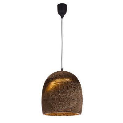 Pendente Light Weight Papel Acartonado Marrom 43x36cm Bella Iluminação 1 E27 Bivolt WD012L Cozinhas e Quartos