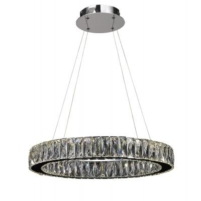 Lustre Aura LED Cristal Transparente Metal Cromado Ø60cm Bella Iluminação 1 LED 32W Bivolt WE001C Mesas e Cozinhas