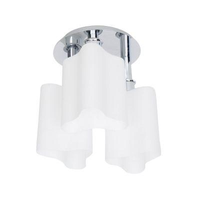 Plafon Triplo Vidro Leitoso Branco Metal Cromado 32x34cm Bella Iluminação 3 E27 Bivolt WI00033C Salas e Quartos
