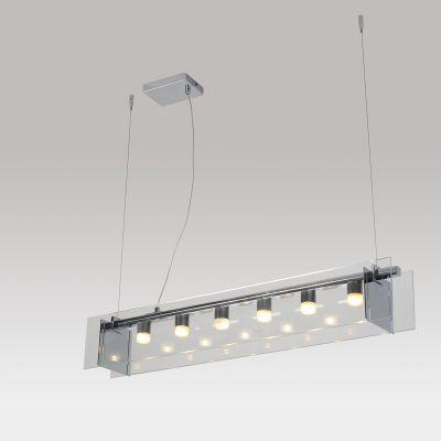 Pendente LED Transparente Acrílico Aço Cromado 13x90cm Bella Iluminação 6 LED 1W Bivolt WN003C Cozinhas e Balcões