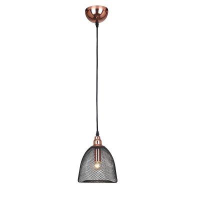 Pendente Copper Aramado Grade Metal Cobre Preto 23,5x17,5cm Bella Iluminação 1 E27 Bivolt XN002 Salas e Entradas