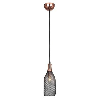 Pendente Copper Aramado Grade Metal Cobre Preto 33x11cm Bella Iluminação 1 E27 Bivolt XN004 Salas e Entradas