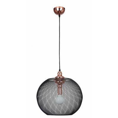 Pendente Copper Aramado Grade Metal Cobre Preto 49,5x50cm Bella Iluminação 1 E27 Bivolt XN005 Salas e Entradas