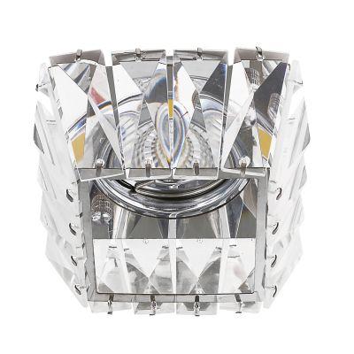 Spot Cristal Embutir Quad Metal Cromado 7,8x9,2cm Bella Iluminação 1 GU10 Dicróica Bivolt YD1026 Salas e Entradas