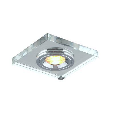 Spot Quad Embutir Cristal Metal Cromado 1x10cm Bella Iluminação 1 GU10 Dicróica Bivolt YD1045 Salas e Cozinhas