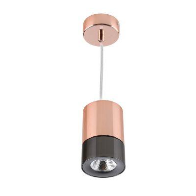Pendente LED Roll Tubular Alumínio Cobre Preto 12,5x8cm Bella Iluminação 1 LED 5W Bivolt YD1330B Salas e Balcões