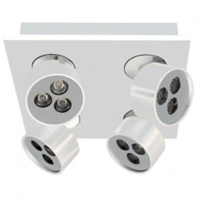 Spot Quad Otic 4 Foco Direcionável Alumínio 8,3x18,8cm Bella Iluminação 12 LED 1W Bivolt YD2584B Salas e Quartos