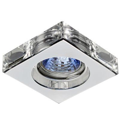 Spot Quad Cristal Transparente Aço Cromado 4,5x10cm Bella Iluminação 1 GU10 Dicróica Bivolt YD630A Quartos e Salas
