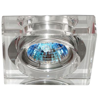 Spot Quad Cristal Transparente Aço Cromado 4,5x10cm Bella Iluminação 1 GU10 Dicróica Bivolt YD631A Cozinhas e Salas