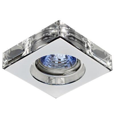 Spot Quad Cristal Transparente Aço Cromado 1,4x6,2cm Bella Iluminação 1 GU10 Minidicróica YD755A Salas e Quartos