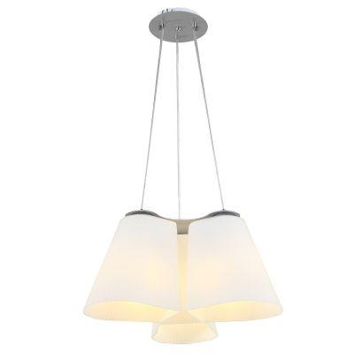 Lustre Tri Vertical Cupula Vidro Café Metal Prata 20x47cm Bella Iluminação 3 E27 Bivolt ZD001W Salas e Cozinhas
