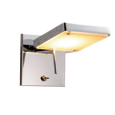 Arandela LED Leitura Quadrada Aço Cromado Vidro 12x18cm Bella Iluminação 1 LED 6,6W ZU002 Balcões e Mesas