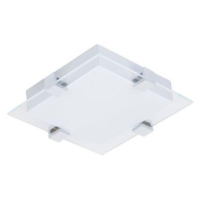 Plafon Quad LED Vidro Branco Metal Prata 7x30cm Bella Iluminação 1 LED 12W Bivolt ZU018S Corredores e Quartos