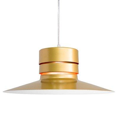 Pendente Berlim Sino Vertical Metal Dourado 40x15cm Golden Art 1x Lâmpada E27 Bivolt T291 Cozinhas e Quartos