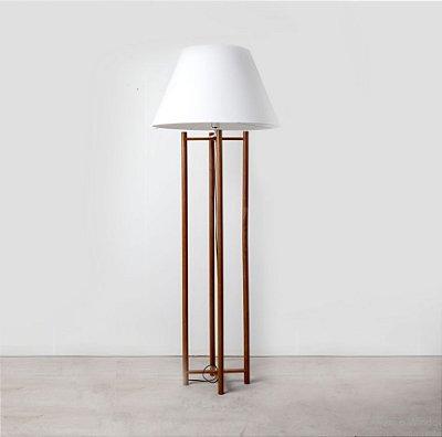 Coluna Scaffo Vertical Madeira Cupula Tecido 180x27cm Golden Art 1x Lâmpada E27 Bivolt C749 Salas e Quartos