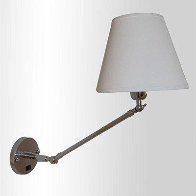 Arandela Angle Articulada Metal Cupula Tecido 50cm Golden Art 1x Lâmpada E27 Bivolt P470 Quartos e Escritórios