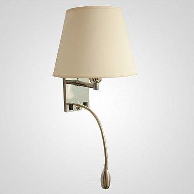 Arandela Starck Cupula Foco Alumínio Tecido 30x37cm Golden Art 1x Lâmpada E27 Bivolt P656 Escritórios e Quartos