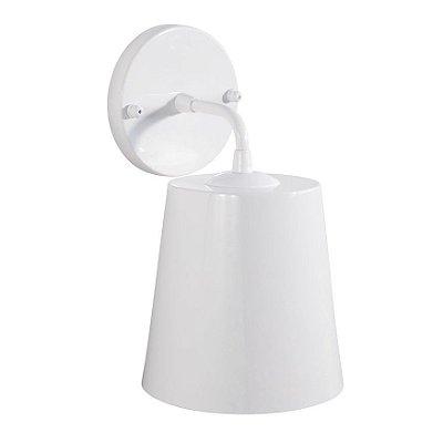 Arandela Brida Cupula Conica Metal Branco 16x11cm Golden Art 1x Lâmpada E27 Bivolt P760 Quartos e Corredores