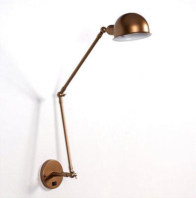 Arandela Baboo Vertical Articulada Metal Bronze 40x9cm Golden Art 1x Lâmpada E27 Bivolt P1060-20 Quartos e Mesas