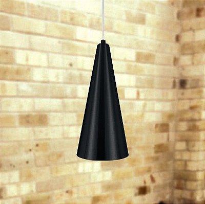 Pendente Cone Alumínio Vertical Conico Preto 30x14cm Golden Art 1x Lâmpada E27 Bivolt T200 Cozinhas e Balcões