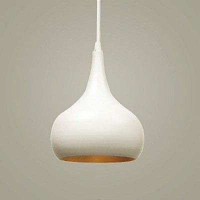 Pendente Aladim Conico Alumínio Branco Dourado 20x27cm Golden Art 1x Lâmpada E27 Bivolt T946 Mesas e Cozinhas