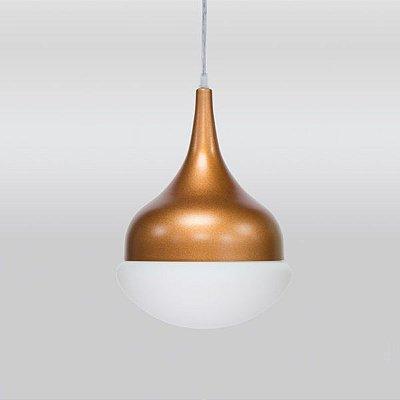 Pendente Simba Vertical Sino Alumínio Vidro 30x20cm Golden Art 1x Lâmpada E27 Bivolt T7452 Cozinhas e Salas