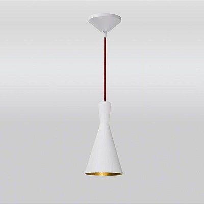 Pendente Cone Vertical Conico Alumínio Branco 27x14cm Golden Art 1x Lâmpada E27 Bivolt T9076-A Cozinhas e Balcões