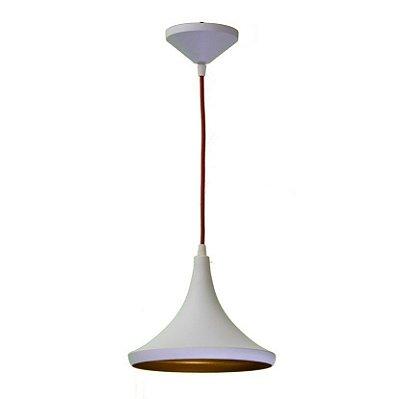 Pendente Chapéu Conico Vertical Alumínio Branco 24x20cm Golden Art 1x Lâmpada E27 Bivolt T9077-B Salas e Mesas