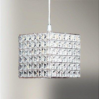 Pendente Cristal Quadrado Cubico Decorativo Ø15cm Golden Art 1x G9 Halopin Bivolt T960 Salas e Corredores