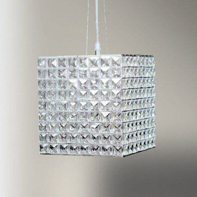 Pendente Cristal Quadrado Cubico Decorativo 22x20cm Golden Art 1x G9 Halopin Bivolt T958 Salas e Corredores