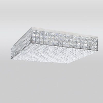 Plafon Cristal Quadrado Sobrepor Decorativo 10x45cm Golden Art 1x G9 Halopin Bivolt T957-45 Salas e Entradas