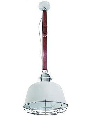 Pendente Ingrandara Cinto Couro Cupula Metal 30x32cm Luciin 1x Lâmpada E27 Bivolt CF156/3 Balcões e Cozinhas