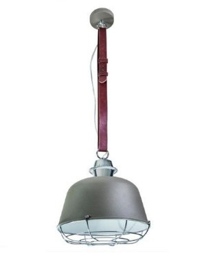 Pendente Ingrandara Cinto Couro Cupula Metal 30x32cm Luciin 1x Lâmpada E27 Bivolt CF156/12 Balcões e Cozinhas