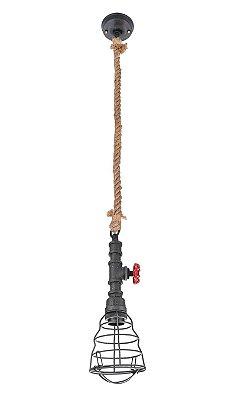 Pendente Inriolo Aramado Cinza Vertical Corda 12x13cm Luciin 1x Lâmpada E27 Bivolt CF161/29 Balcões e Salas