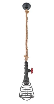 Pendente Inriolo Aramado Preto Vertical Corda 12x13cm Luciin 1x Lâmpada E27 Bivolt CF161/2 Balcões e Salas