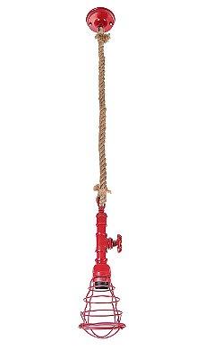 Pendente Inriolo Aramado Vermelho Vertical Corda 12x13cm Luciin 1x Lâmpada E27 Bivolt CF161/9 Balcões e Salas
