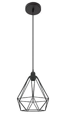 Pendente Inpoggio Aramado Metal Pintado Preto 21x18cm Luciin 1x Lâmpada E27 Bivolt CF165/2 Entradas e Cozinhas