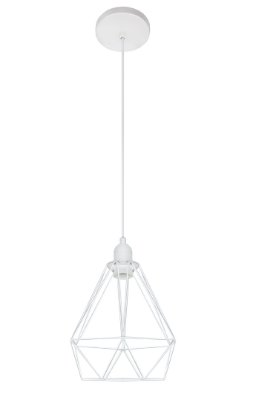 Pendente Inpoggio Aramado Metal Pintado Branco 21x18cm Luciin 1x Lâmpada E27 Bivolt CF165/3 Entradas e Cozinhas